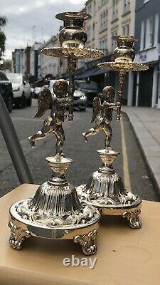 Antique Vintage Ou Paire De Solides Argent Candlestick Avec Churbe Figure Détenteurs