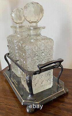 Antique Vintage Paire A1 Argent Plaqué Hobnail Cut Glass Decanters Tantalus Stand