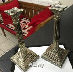 Antique Vintage Paire Striking Plaqué Argent Bougeoirs Colonne Corinthienne Romaine