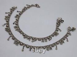 Antique Vintage Silver Old Anklet Pair Fee Bracelet Ankle Belly Dance Anko34