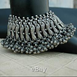 Antique Vintage Tribal Anklet Paire Paon À La Main En Argent 925 Bijoux Bohème