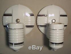 Applique Murale Vtg Porcelaine Applique Salle De Bain Lumière Paire Argent 2 Rewired USA # B1