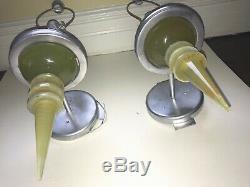 Appliques Murales Vintage MID Century Modern Paire Appliques Jade Couleur Lucite