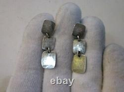 Argent Sterling Vintage James Avery Drop Earring Pair Hammered Square Link Old