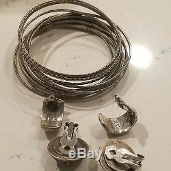 Argent Vintage 925 2 Paires Mexique Boucles D'oreilles N & H 14 Bracelets Bangle