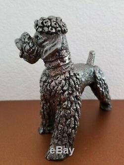 Argent Vintage Sterling Caniche Chien Figurines Paire