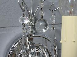 Art Antique Vintage Deco Chrome Avec Appliques En Cristal Prismes Restauré 8.75l