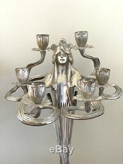 Art Nouveau Silvered Candélabres Lampe Bougeoir Vintage Paire Figural