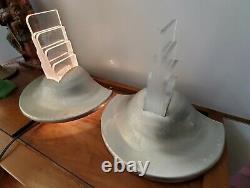 Art Vintage Paire Déco Aluminium / Plexi Grand Sconces Machine Age