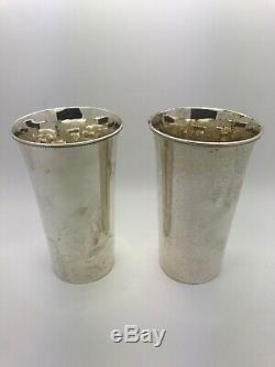 Arthur Pierre Vintage Paire En Argent Sterling Mint Julep Coupes Martelées À La Main Non Mono