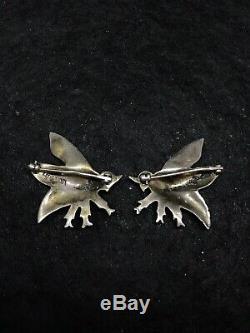 Artisanat Argent Vintage Sterling Viking Bee Broche Rare Paire Masculin Et Féminin