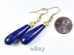 Belle Paire De Boucles D'oreilles Pendantes En Lapis-lazuli Naturel En Vermeil