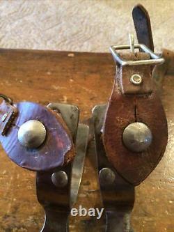 Belle Paire Vintage De Crockett Silver Monté Dur Travail Western Cowboy Spurs