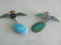 Belle Rare Paire D'ailes De Raf Vintage Argent Et Émail Cufflinks