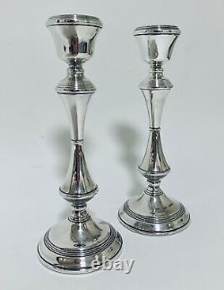 Bonne Qualité Paire De Chandeliers Bougeoirs Bougie Vintage En Argent Sterling