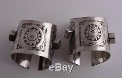 Bracelet En Argent Bédouine Vintage Berber Cuff Pair-lybie