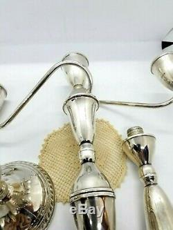 Candélabre Sterling Vintage Exquis Avec Une Bordure En Forme De Gadron / Perle Réglable