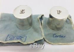 Cartier Forme Rare Vintage En Argent Sterling Paire Sel Et Poivrière