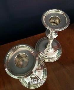 Chandeliers Pondérés Vintage En Argent Sterling. Paire. 18.5cm Londres 1960. 741gms