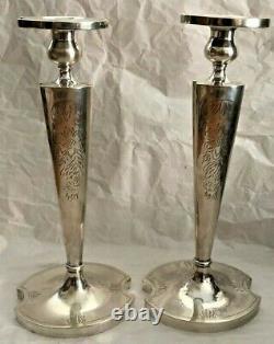 Chandeliers Vintage En Argent Sterling Massif (initiale H Gravée) (paire)