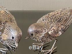 Christofle D'argent Vintage Lumiere Argent Paire De Sculptures D'oiseaux Sparrow