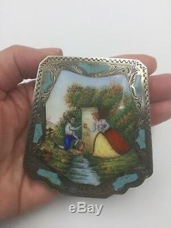 Compact En Émail Argenté, Vintage, Italie 800, Avec Scène De Couple