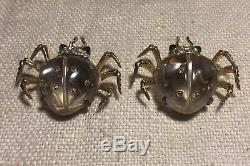 Coro Pair Vintage Sterling Silver Rhinestone Coccinelle Jelly Belly Clip