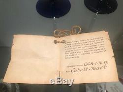 Correia Paire De Vin Gobelets Bleu Cobalt Avec La Conception D'argent Et D'or 10 Vintage 1980