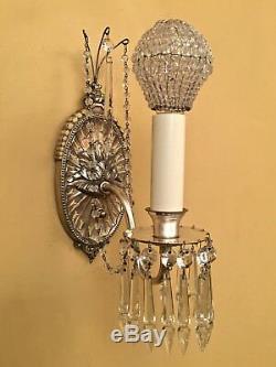 Cristal Argent Éclairage Vintage Années 1920 Paire Incroyable Sconces