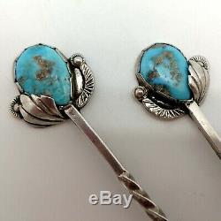 Cru Paire Épingles À Cheveux Turquoise D'argent Amérindien Navajo, Lourd, Simplicio