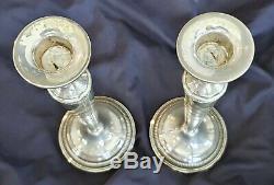 Élégant Vintage Paire De 9-3 / 4 Pouces Détenteurs D'argent Sterling Grand Candlestick
