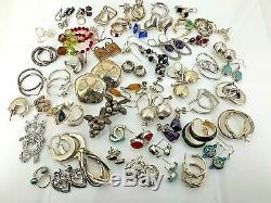 En Argent Sterling Lot (environ 55 Paires) 224 Vintage & Estate Grammes-nr-