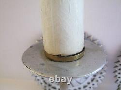 Ensemble De 2 Antique Wall Scnces Electric Candlestick Vintage Années 1930 Argent Recwired