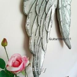 Extra Grande Paire De Angel Wings Mural Suspendu Vieilli Finition Argent 104cm
