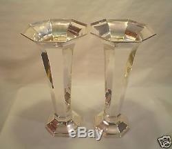 Fabuleuse Paire Vintage De Roseaux Et De Vases Sterling Art Deco 12.5 Trompette