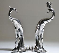 Figurines De Sculptures De Paon Plaquées Argentées Grand Vintage Pair Art Déco Wb