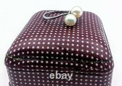 Fine Vintage Mikimoto 7mm Akoya Pearl Paire Argent Sterling Taille Bague 6