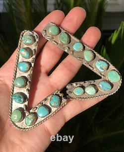 Fine Vtg Paire Native American Navajo Silver Turquoise Collar Protecteurs Conseils