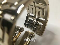 Gianni Versace Vintage'90s Grec Key Hoop Paire Boucles D'oreilles Sheeny Silver Italie