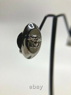 Gianni Versace Vintage'90s Medusa Head Relief Boucles D'oreilles Ovale Paire Argent Italie