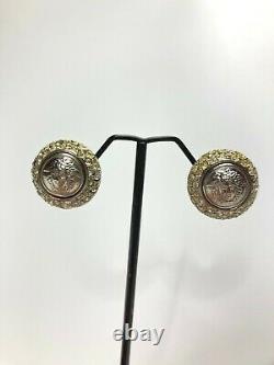 Gianni Versace Vintage Des Années 90 Medusa Rhinestones Errings Round Pair Silver Italie