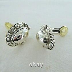 Good Vintage Sterling Silver Paire De Boucles D'oreilles Heritage Par Georg Jensen, 1995