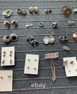 Grand Lot De Bijoux En Argent Sterling Vintage / Boucles D'oreilles 44 Paires