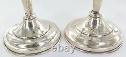 Grand / Vintage Mexicain Hecho Sterling Argent Matching Paire Bougeoirs