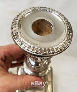 Grande Paire De Chandeliers Vintage En Argent Sterling Et Birmingham Anglais Par Barker Ellis