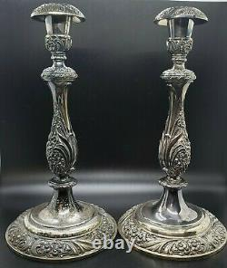 Heritage 1847 Rogers Bros Silver Plaqué Vintage Candle Stick Holder Paire #9416