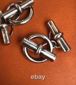 Hermes Vintage Sterling Silver Chaine D'ancre Paire Bouton De Manchette