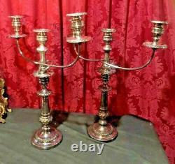 Impressionnant Paire Vintage Antique 22 Argent Plaque 3 Bougies Candelabra Léger