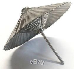 Japonais Vintage En Argent Sterling 950 Umbrella Parasol Paire Sel Et Poivrière