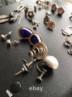 Job Lot Vintage Jewellery 925 Boucles D'oreilles En Argent Sterling X16 Paires Nice Lot